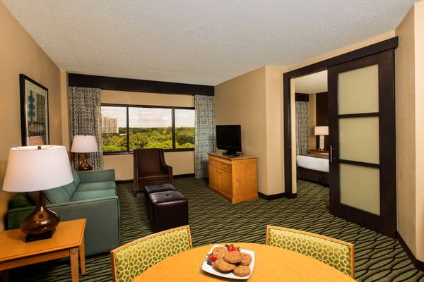 Living room of Doubletree Suites in the Walt Disney World Resort