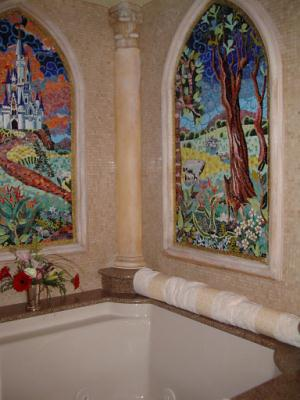 Castle Suite tub with mosaic windows
