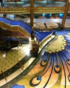 Peacock carpet in the atrium of the Disney Fantasy