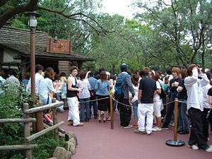 Just a portion of the very long line of guests waiting to buy things at Frontier Woodcraft!