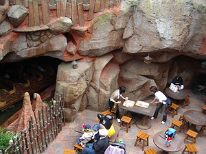 Seating area for Grandma Sara's - note the Splash Mountain log going by on the left.