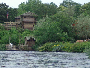 View of Tom Sawyer Island across the water.